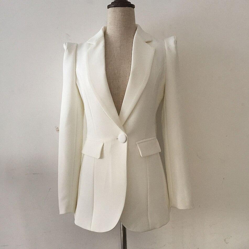 高品質新ファッション 2019 デザイナー黒のブレザージャケット女性の事務単一のボタンブレザー外側摩耗卸売  グループ上の レディース衣服 からの ブレザー の中 1
