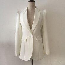HIGH QUALITY New Fashion 2019 Designer Black Blazer Jacket Womens Office Work Single Button Blazer Outer Wear Wholesale