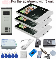 Sunflowervdp Doorphone For Video Intercom Rfid Security Door Lock System Videophone For 3 Apartments With 3