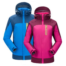 Autumn winter outdoor jacket three-in-one two-piece couple plus velvet thick waterproof mountaineering clothing women's jacket pelliot outdoor jackets women s tide brand jacket three in one thickening fleece two piece mountaineering clothing female jacket