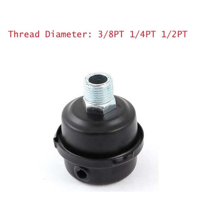 1pc 3/8PT 1/4PT 1/2PT  Thread Diameter Metal Air Compressor Intake Filter Silencer Mufflers cnbtr compressor 20mm male threaded air intake silencer filter black metal shell