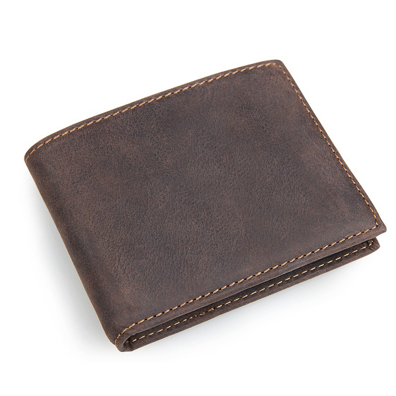 Vintage Handmade 100% Genuine Crazy Horse Leather Cowhide Men Wallets Purse for US Dollar Card Holder Men's Wallet #MD-J8108 crazy horse leather men wallet slim vintage genuine leather long purse cowhide bifold wallets with coin pocket and card holders