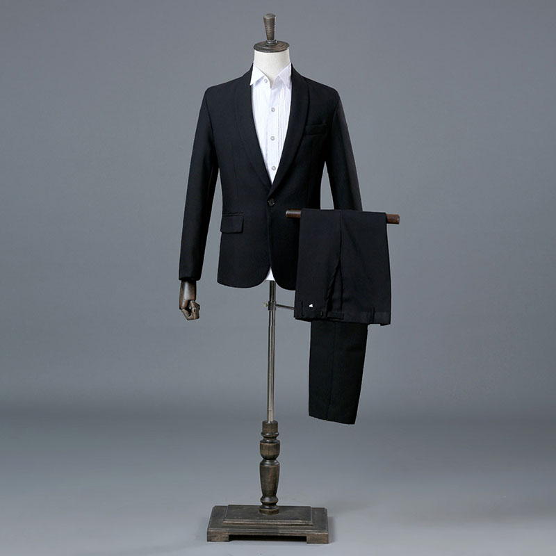 Navy Blue Black Business Men Suit groom Wedding Tuxedo Top Lapel Decoration Fit Men s Blazer