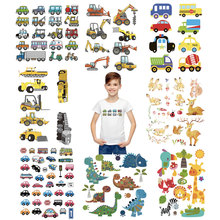 cartoon truck car patch iron on transfers for children clothing thermal stickers kids hoodies washable appliques cheap