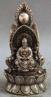 6 Tibet Buddhism Silver Seat Kwan yin Shakyamuni Amitabha Ksitigarbha Statue R0710