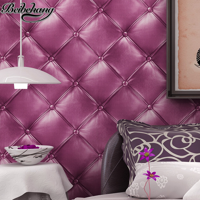 beibehang Purple Stereo Simulation Soft Pack Wallpaper Square Big Grid Wallpaper Living Room Bedroom Bedside TV Background Wall beibehang wallpaper 3d square grid