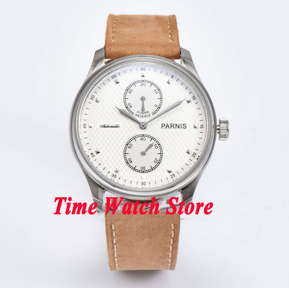 Parnis 43mm white dial power reserve ST 2542 Automatic mens watch 683