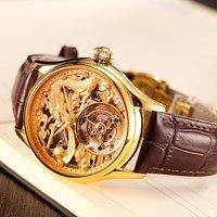 Top Brand Luxury Golden Dragon Totem Dial Tourbillon Watch Men Mechanical Hand Wind Man Watches Support Free Custom DIY LOGO