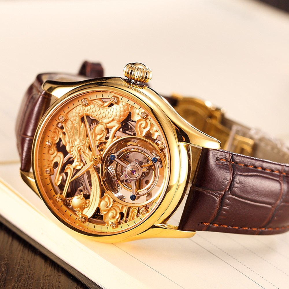 Top marque de luxe doré Dragon Totem cadran Tourbillon montre hommes mécanique main vent homme montres soutien gratuit personnalisé logo bricolage