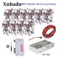 160 400PCS 40pcs/lot DC12V WS2811 Module Programmable Colorful Waterproof IP68 Lamp Beads+T1000S Led Controller+12V Power Supply