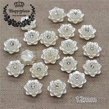 30 шт 12 мм смолы ABS жемчуг цветок Стразы с плоской задней частью скрапбукинга ремесло/Свадебные украшения