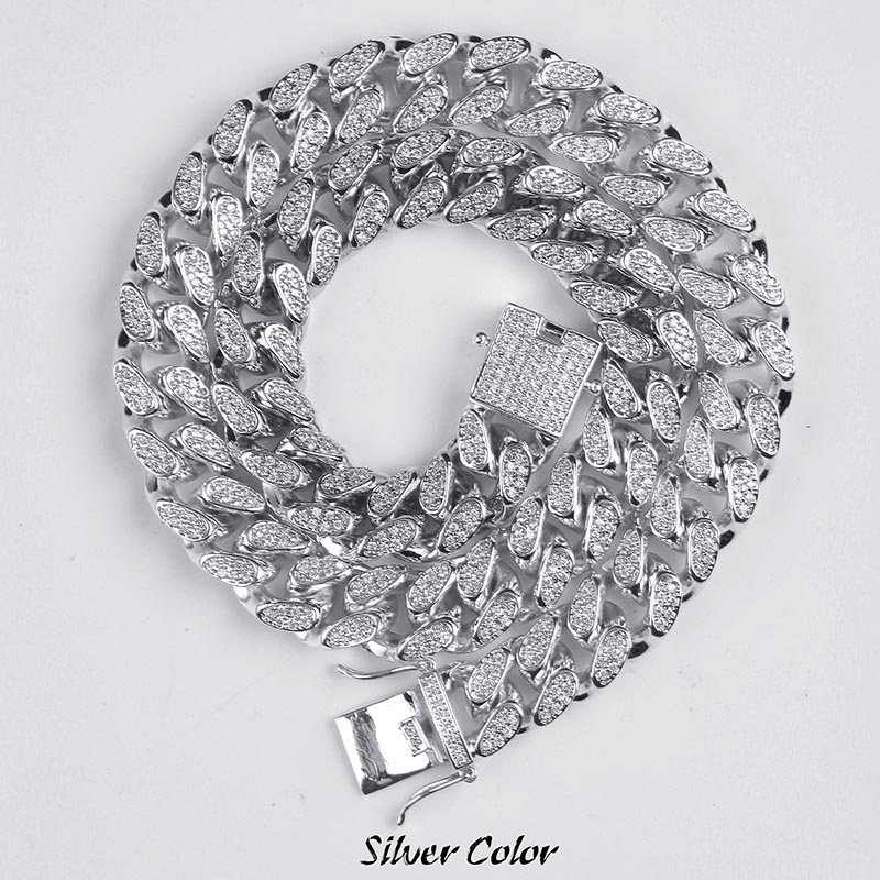 14mm Hip Hop Men s Maimi Cuban Link Chain Necklace Silver Gold Color Iced Out Cubic