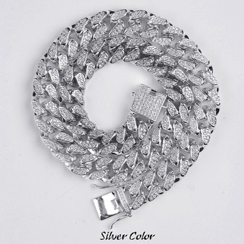 14mm Hip Hop Men's Maimi Cuban Link Chain Necklace Silver Plated Gold Iced Out Cubic Zircon Bling Jewelry Necklaces Gifts