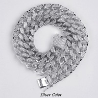 14mm Hip Hop Men's Maimi Cuban Link Chain Necklace Silver Gold Color Iced Out Cubic Zircon Bling Jewelry Necklaces Gifts