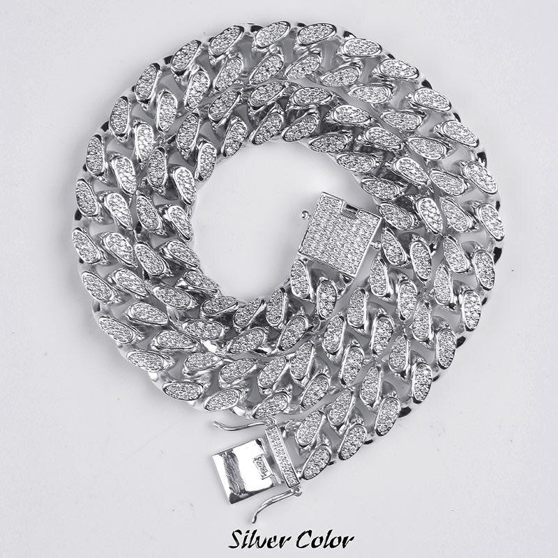 14mm Hip Hop męskie Maimi kubański Link naszyjnik łańcuch srebrny złoty kolor Iced Out Cubic cyrkon Bling biżuteria naszyjniki prezenty w Naszyjniki łańcuszkowe od Biżuteria i akcesoria na  Grupa 1