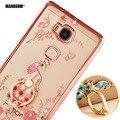 Honor 5x Роскошный Горный Хрусталь Телефон Case Обложка Пальцев Поворачивается Кольцо Держатель Стенд Для Huawei Honor Play 5X Ultra-thin Silicone Case