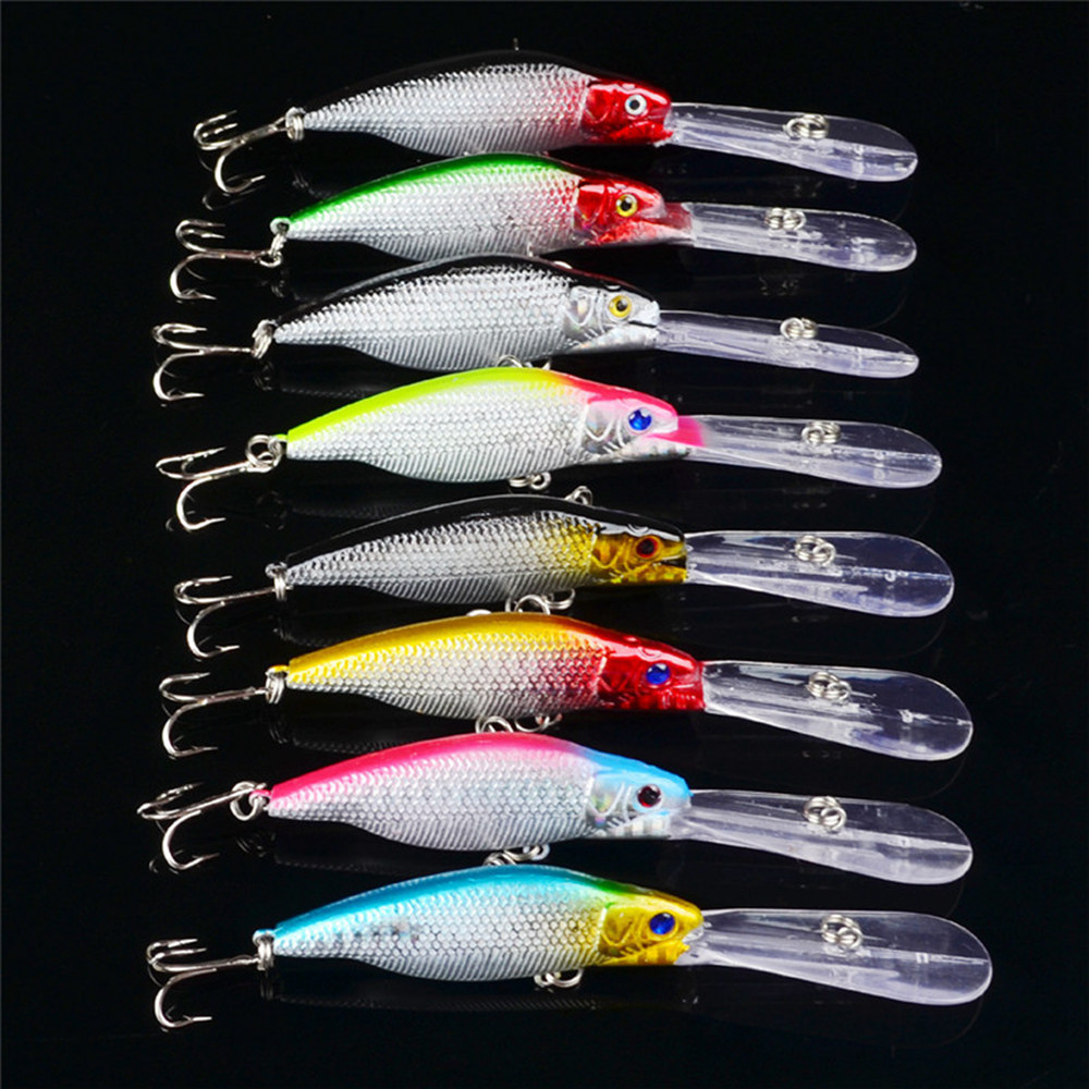 Image 2 - 8pcs Minnow fishing lure 8 color Hard bait Crankbaits 11cm 9.5g Carp fishing tackle #6 Hook Bass isca artificial Pesca-in Fishing Lures from Sports & Entertainment