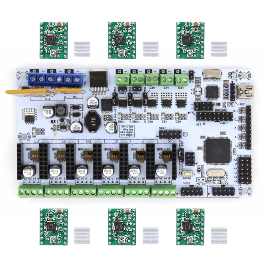 BIQU Rumba Motherboard MPU RUMBA Optimized Version Control Board with 6pcs A4988 Stepper Driver For 3D Printer RepRap|for 3d printer|rumba 3d|3d printer motherboard - title=
