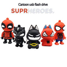 Pen drive pendrive dos desenhos animados super hero 64 GB GB GB 8 16 32 GB 4 GB SpiderMan/memória Deadpool vara mini dom usb flash drive u vara(China)