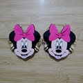Cartoon Minnie Bamboo Big Hoop Circle Earrings Woman's Party Accessories