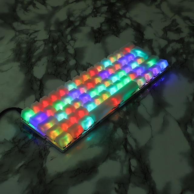 YMDK 1.5mm ABS 108 87 61 ANSI ISO Blank Milk Fog OEM Profile Shine Through Keycap For MX Mechanical Keyboard RGB GK61 Womier 66