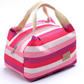 Oxford Striped Insulated Lunch Bag Picnic Thermal Food Beverage Cooler Storage Wholesale Bulk Lot Accessories Supplies Products