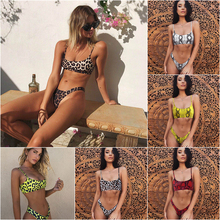 Sexy leopard print with chest pad no steel ring split quick-drying swimsuit bikini women's underwear set free shipping