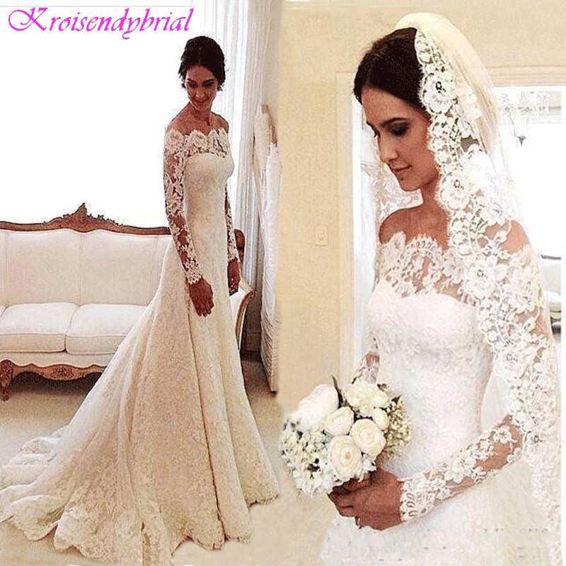 DZW056 Cheap Vestido De Noiva  Long Sleeves Lace Wedding Dress 2019 Bridal Marriage Dress Vestido De Casamento Robe De Mariage