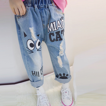 children jeans 2017 new spring fashion girls cartoon hole regular pants boys casual long pencil trousers kids lovely leggings Boys Jeans
