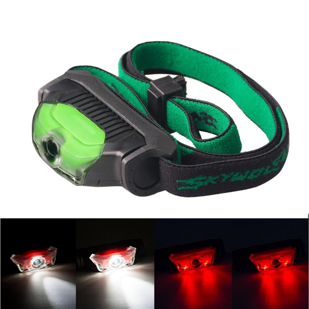 AA 14500 Mini Head Lamp 4 Modes Waterproof 1*Q5 White+2*LED Red Flashlight Headlight Headlamp Torch Lanterna
