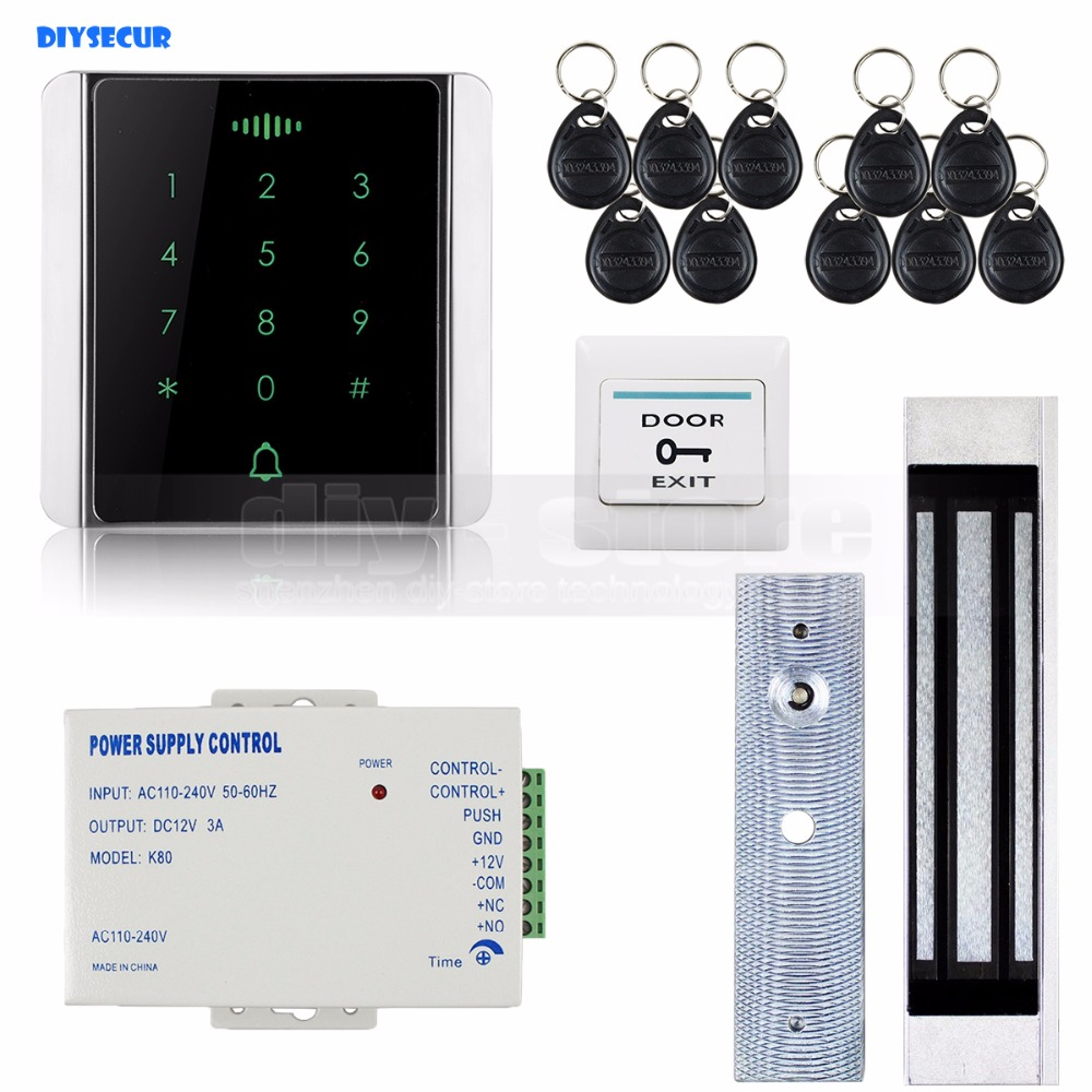 DIYSECUR 125KHz RFID Reader Password Keypad + Magnetic Lock Door Access Control Security System Kit 8000 User diysecur 125khz rfid reader password keypad access control system security kit 280kg magnetic lock door lock exit button