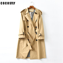 Abrigos Casaco de Primavera do Outono Para As Mulheres Da Moda Double Breasted Mid-long Trench Coat Windbreak Outwear Mujer Cinto Solto(China)