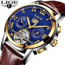 LIGE Men's Mechanical Gold Watches Fashion Automatic Watch Man Waterproof Sport Watch Creative Clock Erkek Kol Wristwatch 2018 boyzhe man s automatic mechanical watch fashion brand business watch military sport waterproof clock luminous wristwatch for man