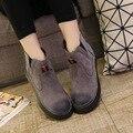 2017 Primavera Nueva Tendencia de Estilo Británico Martin Botas de Tobillo de Las Mujeres las botas de Terciopelo Negro Niñas de Invierno Botas de Ante de la Marca de Las Mujeres zapatos