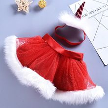 2019 New 2pcs Christmas clothes set toddler girl Fluffy Tulle Tutu Skirt + headband