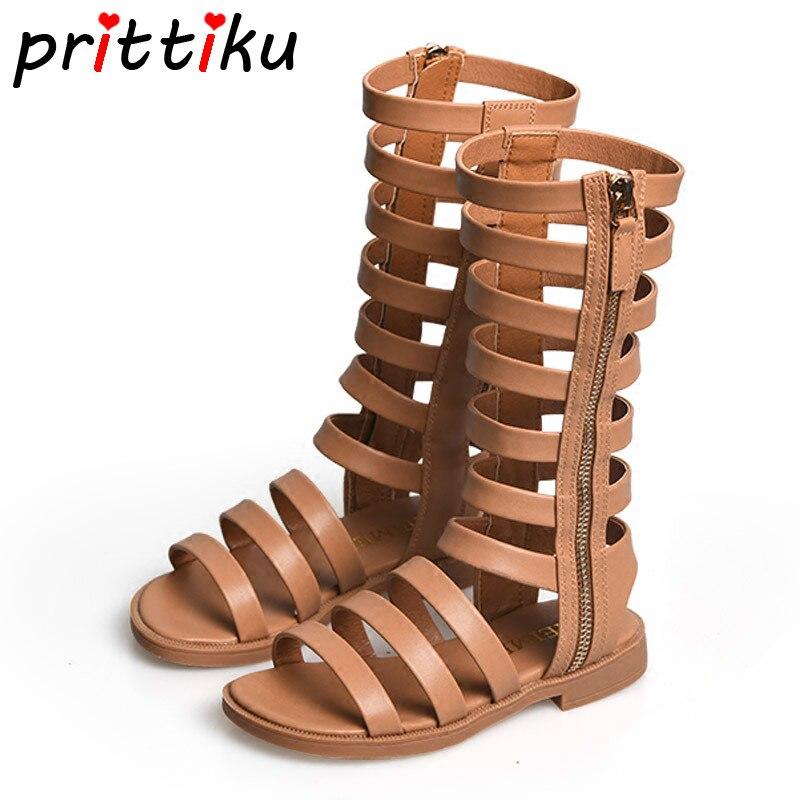 цена на Summer 2018 Baby Toddler Girl Gladiator Barefoot High Top Sandals Little Kid Microfiber Leather Flat Big Children Princess Shoes
