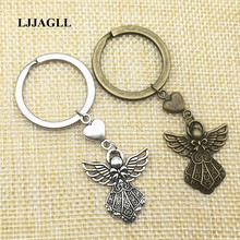 5pcs/lot Metal Zinc Antique Silver Pendant Heart Charm Angel Key Chain Fairy Charms Hand Made Earing Jewelry Diy AYS061