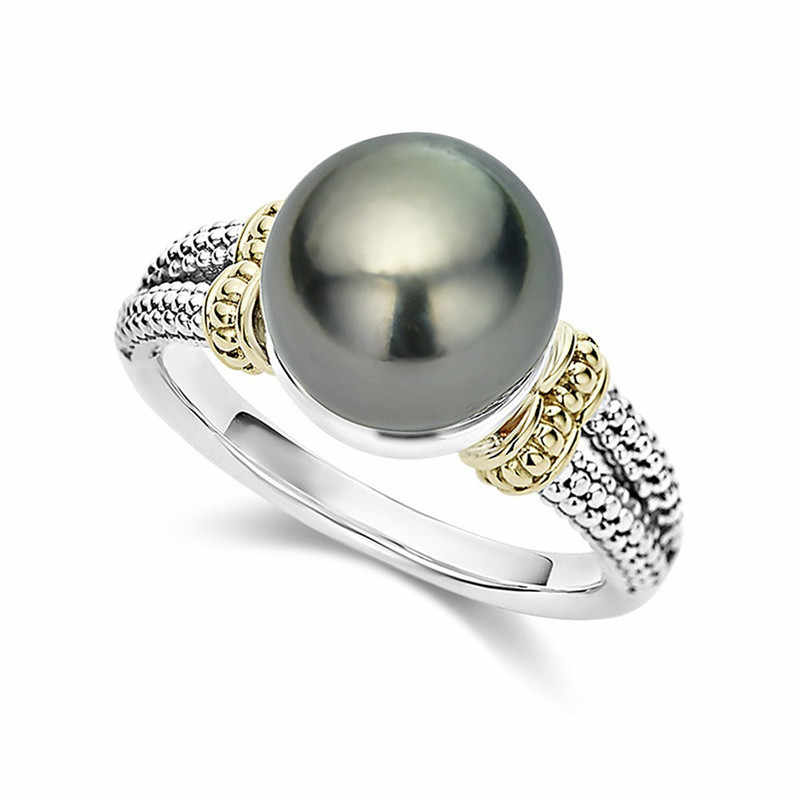 Modyle hot ring with Gray Pearl and cubic zircon Women jewelry dropshipping anel anillos aneis femme statement finger rings