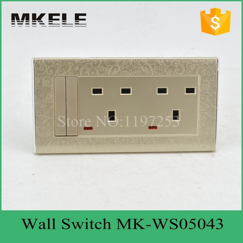 MK-WS05043 free shipping  new PC material useful 2 Gang 3 pin Switched With Neon,double 13 A wall switch socket,wall socket wallpad luxury double 13 a uk switched socket goats brown leather 1 gang switch and 13a wall socket with neon free shipping