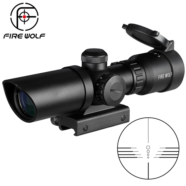 1.5-5X32 Short Scope Hunting Riflescope Red Dot Green Illuminated Optical Sight Rail 20mm Crossbows For Hunter Airsoft Weapons 1