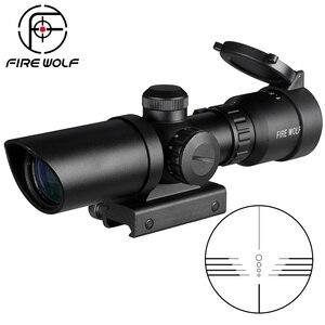 Image 1 - 1.5 5X32 Breve Scope Riflescope di Caccia Red Dot Punto Verde Illuminato Optical Sight Guida di 20mm Balestre Per Hunter Airsoft armi