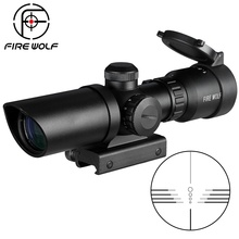 1.5 5X32 קצר היקף ציד Riflescope נקודה אדומה ירוק מואר אופטי Sight Rail 20mm קשתות עבור צייד Airsoft נשק