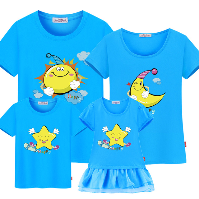 family matching clothes 2017 new short-sleeve Mother daughter dress family set summer family Matching Outfits dad son T-shirt