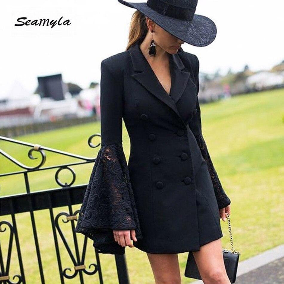 Seamyla New Winter Black Blazers 2017 Double Breasted Notched Lace Flare Sleeve Women Blazer Slim Fashion Designer Runway Jacket