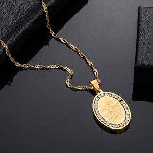 Image 3 - Herren Edelstahl Gold Ton Oval Strass Umgeben Allah Anhänger & Halskette Islamischen Arabisch Gott Islam Muslimischen Schmuck Geschenk