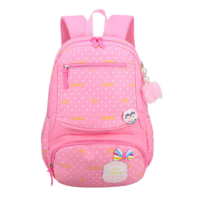 RUIPAI Cute Pack Princess School Bag with Dot and Bow knot Backpack Dough Ball Primary School Girl Practical Large-capacity pack