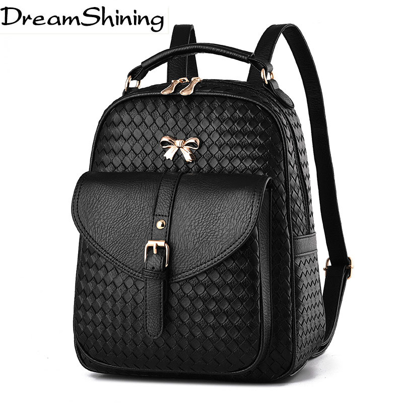 Dream Shining Brand Mochila New Fashion PU Leather Gold Bow Girls Backpack Shoulder Bags Style College Wind Women Backpacks Bag
