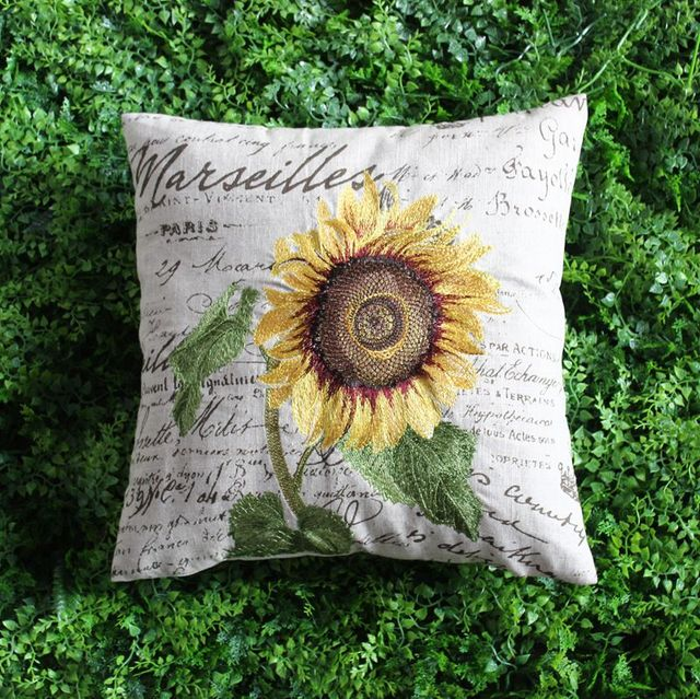 VEZO HOME Embroidered Sunflower Cotton Linen Sofa Cushions Cover Beauteous Sunflower Decorative Pillows
