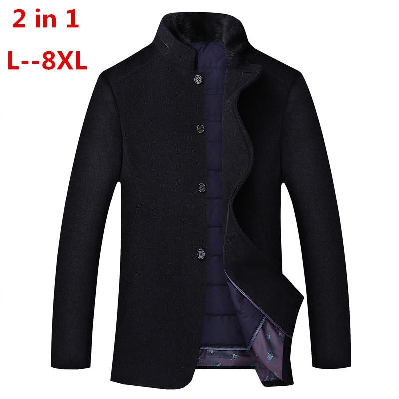 8XL 6XL 2 en 1 Hiver Hommes décontracté Laine Trench Manteau Mode Longue Epaissir Mince Manteau Veste Homme Caban Marque Vêtements