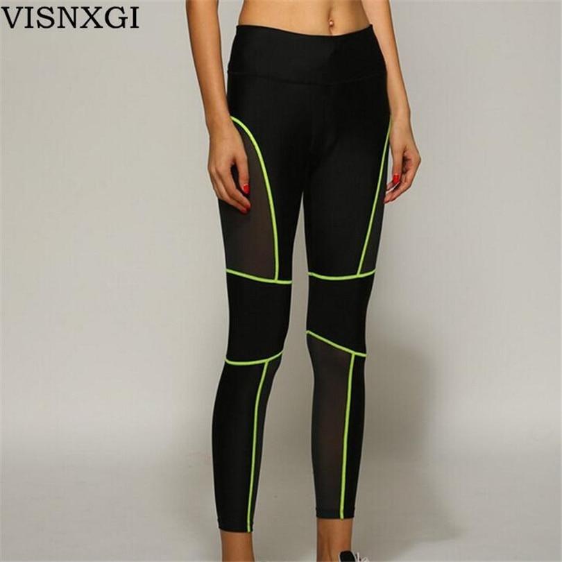 Compress Sporting Leggings Men Women Fitness Workout Leggings Summer Thin Strip Fluorescent Sporting Women Neon Leggings L003